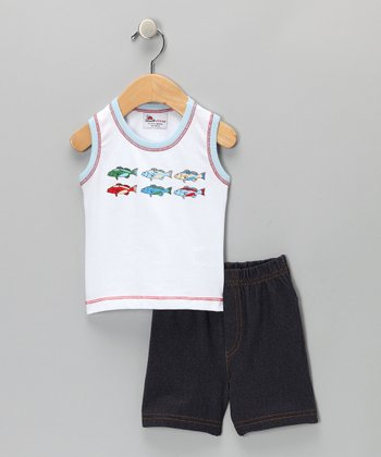 White Fish Tank & Shorts - Infant