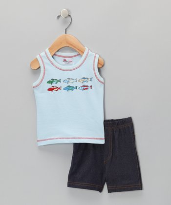 Baby Blue Fish Tank & Shorts - Infant