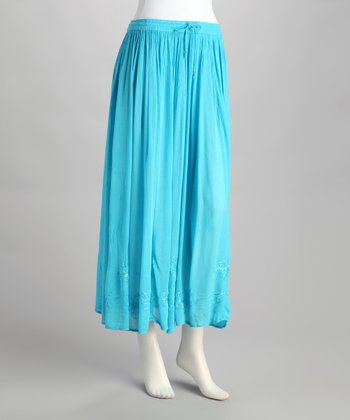 Aqua Embroidered Peasant Skirt