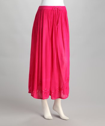 Bright Pink Embroidered Peasant Skirt