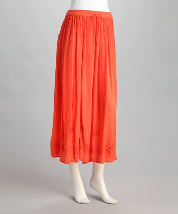 Coral Embroidered Peasant Skirt