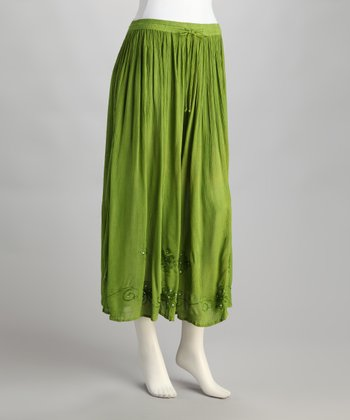 Kiwi Embroidered Peasant Skirt