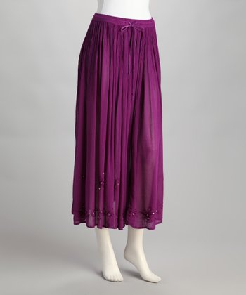 Purple Embroidered Peasant Skirt