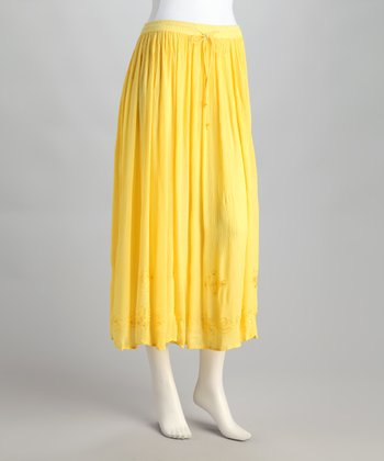Yellow Embroidered Peasant Skirt