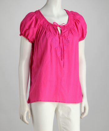 Pink Embroidered Peasant Top