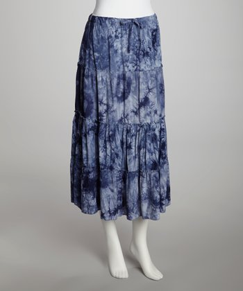 Blue Tie-Dye Tiered Skirt