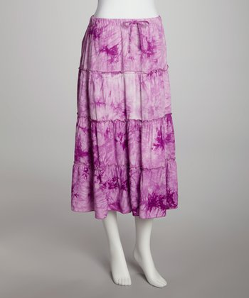 Purple Tie-Dye Tiered Skirt
