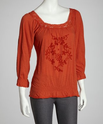 Orange Embroidered Floral Peasant Top