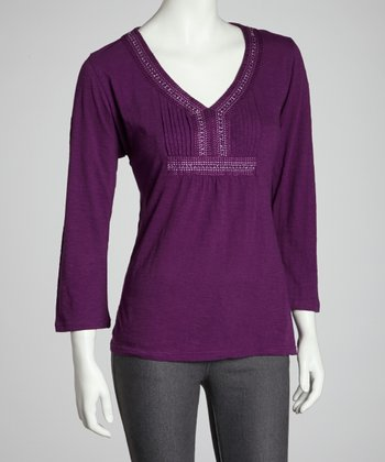 Purple Beaded V-Neck Top