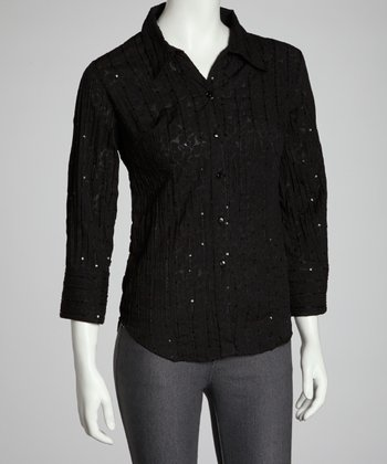 Black Crinkle Sequin Button-Up