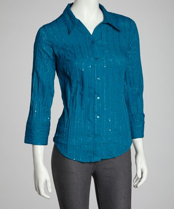 Teal Crinkle Sequin Button-Up