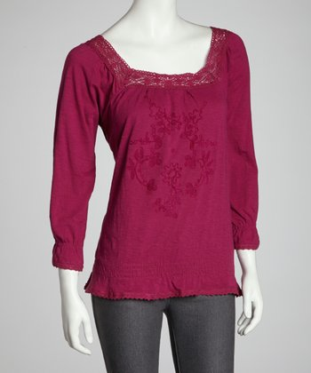 Berry Embroidered Floral Peasant Top
