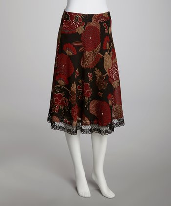 Black & Red Floral Lace-Trim A-Line Skirt