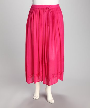 Bright Pink Embroidered Plus-Size Peasant Skirt