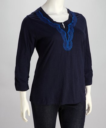 Navy Three-Quarter Sleeve Plus-Size Tunic