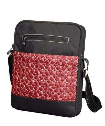 Sangria & Black App Tablet Crossbody Bag