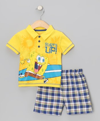 Yellow SpongeBob 'Surf's Up!' Polo & Shorts - Infant