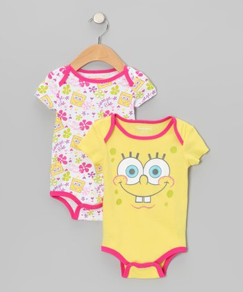 Yellow & Pink SpongeBob Bodysuit Set - Infant