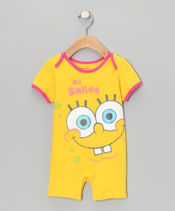 Yellow 'All Smiles' SpongeBob Romper - Infant