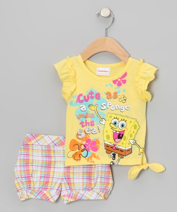 Yellow 'Cute as' SpongeBob Tee & Shorts - Toddler