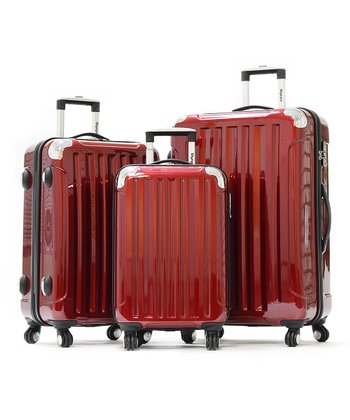 Burgundy Stanton Wheeled Three-Piece Travel Case Set