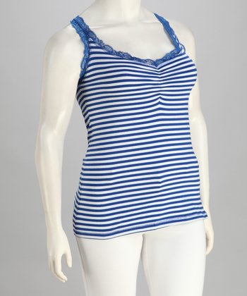 Blueberry Stripe Plus-Size Tank