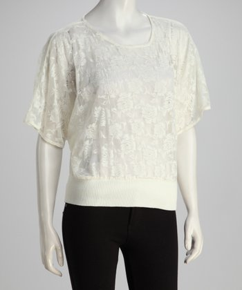 White Sheer Rose Top