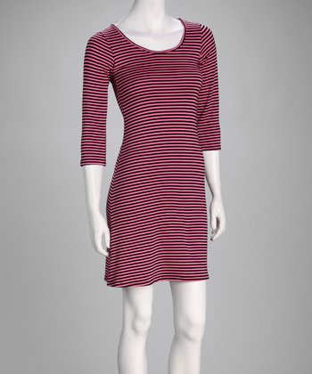 Black & Red Stripe Three-Quarter Sleeve Dress