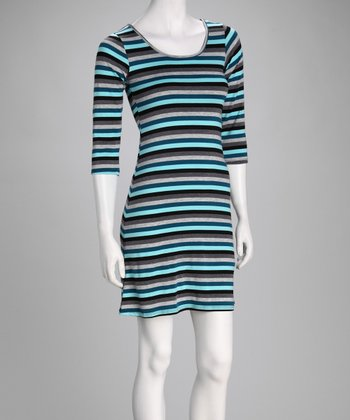 Turquoise Stripe Three-Quarter Sleeve Dress