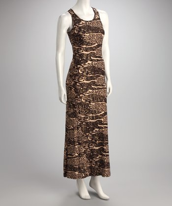 Brown Abstract Jungle Maxi Dress