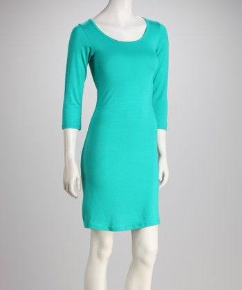 Turquoise Scoop-Neck Dress