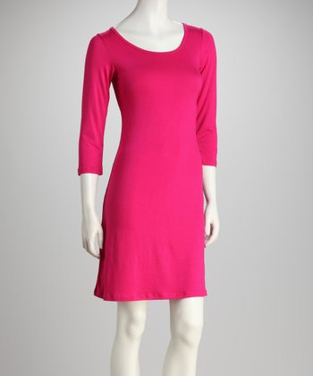 Pink Scoop-Neck Dress