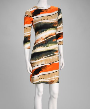 Orange Watercolor Three-Quarter Sleeve Dress