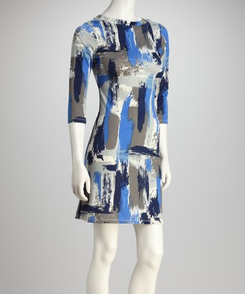 Blue & Gray Paint Brush Three-Quarter Sleeve Dress