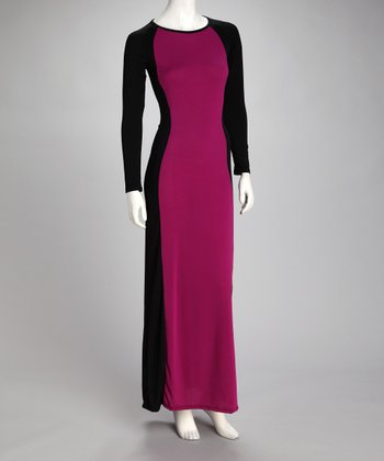 Purple & Black Color Block Maxi Dress