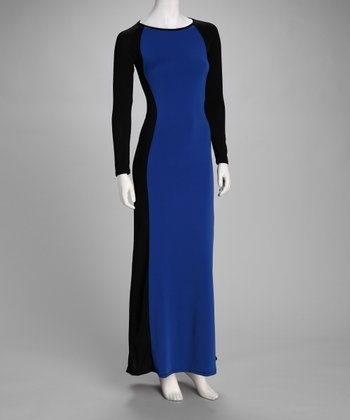 Navy & Black Color Block Maxi Dress
