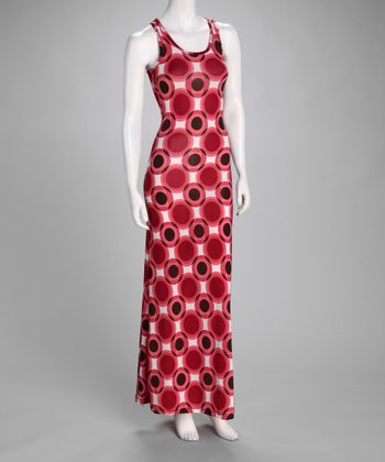 Red Geometric Circles Maxi Dress