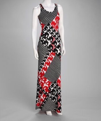 Red & Black Geometric Maxi Dress