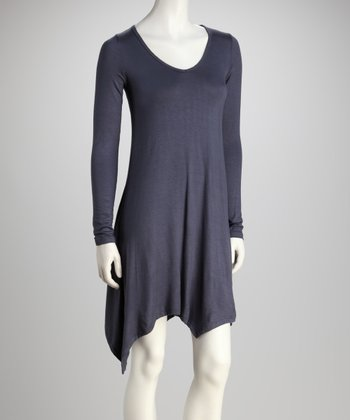 Charcoal Long-Sleeve V-Neck Dress