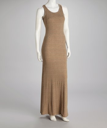 Brown Geometric Scoop Neck Maxi Dress