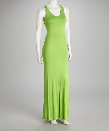 Lime V-Neck Sleeveless Maxi Dress