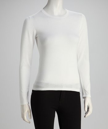 Pure White Two-Ply Long-Sleeve Crewneck Knit Top