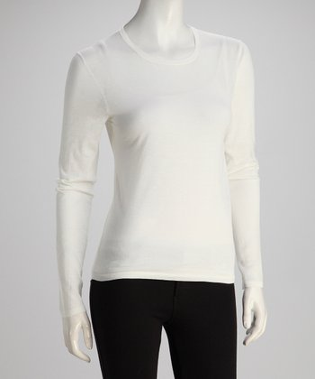 Pure White Long-Sleeve Crewneck Knit Top
