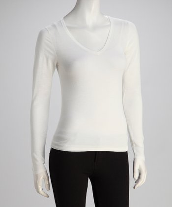 Pure White Long-Sleeve V-Neck Knit Top
