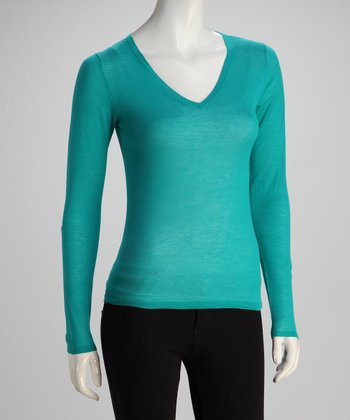 Teal Long-Sleeve V-Neck Knit Top