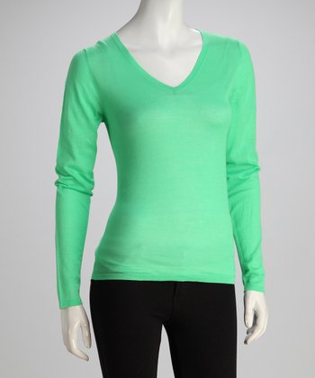 Wakaba Long-Sleeve V-Neck Knit Top