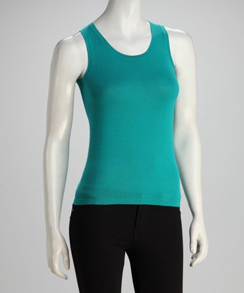 Teal Two-Ply Scoop Neck Knit Tank
