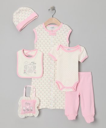 Pink Heart 7-Piece Layette Set
