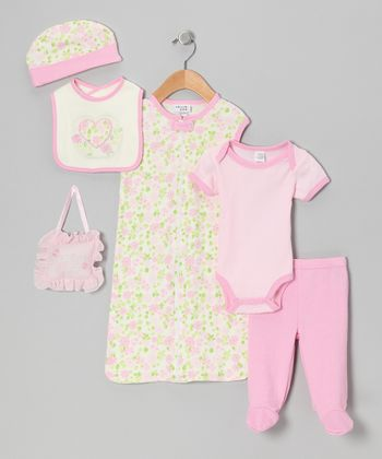Pink Flower Seven-Piece Layette Set