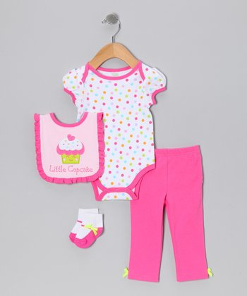 Hot Pink 'Little Cupcake' Layette Set